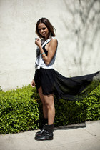 sheer brandy melville skirt - Frye boots - American Apparel bodysuit