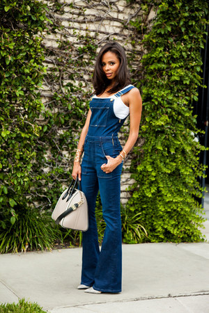 blue overalls Frame Denim jeans - beige Givenchy purse - white Zara top