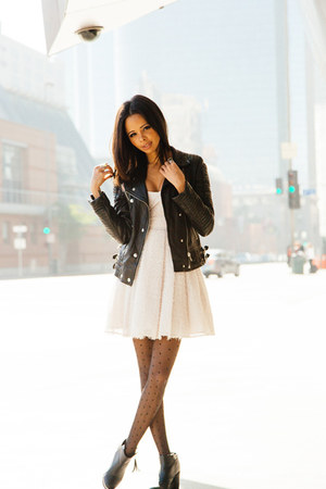 black leather Anine Bing jacket - white tulle French Connection dress