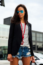 black Helmut Lang blazer - black Givenchy bag - blue One Teaspoon shorts