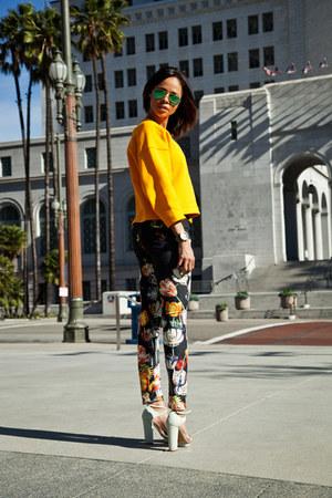 mother jeans - Ray Ban sunglasses - Zara top - Zara heels