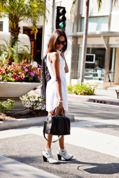 black quilted Givenchy bag - white cutout boots Jeffrey Campbell shoes