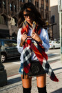 Black-stuart-weitzman-boots-brick-red-zara-scarf-blue-one-teaspoon-shorts