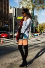 Black-stuart-weitzman-boots-brick-red-zara-scarf-blue-one-teaspoon-shorts