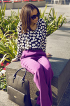 J Crew bag - Prada sunglasses - Alice & Olivia pants - Equipment blouse