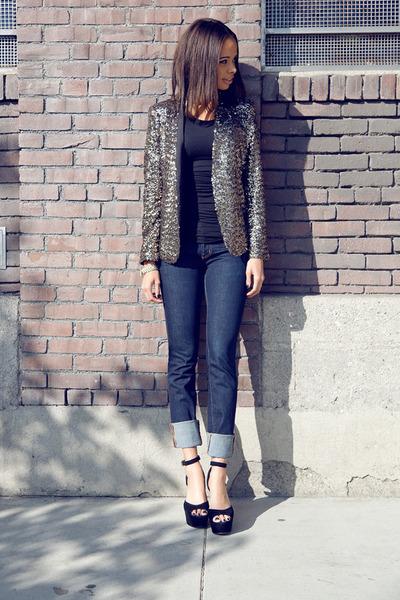 Zara jacket - J Brand jeans - Steve Madden heels