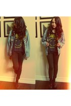 jacket - docs boots - nirvana shirt shirt - leopard pants pants