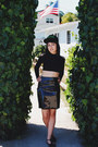 Black-hat-black-cropped-asos-top-black-vinyl-handmade-skirt
