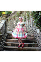 bubble gum 80s does 50s vintage dress - white pink polka dots vintage scarf