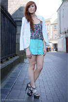 mint shorts - lace blazer - embellished top - silver heels