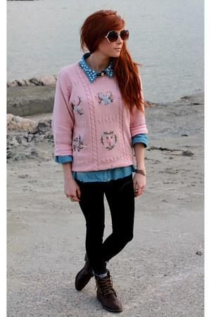 sweater - diy collar shirt - glasses