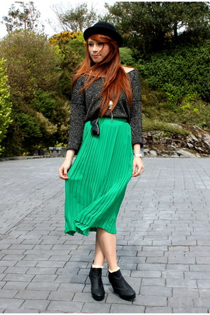 pleated skirt - bowler hat - glitter jumper