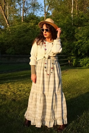 tan woven thrifted hat - off white maxi dress Mossimo dress