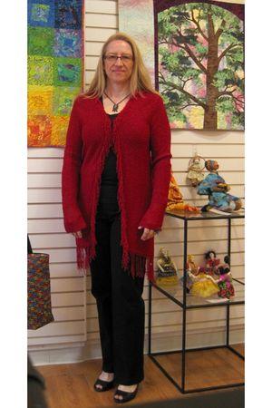 red Chicos sweater - black Gap pants - black handmade accessories - gray handmad