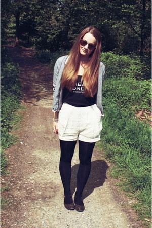 eggshell H&M shorts - black Cheap Monday top - blue H&M cardigan