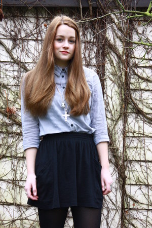 blue Topshop shirt - black Zara skirt