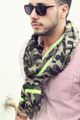 Army-green-camo-forever21-scarf-dark-brown-brogue-oxford-zara-shoes