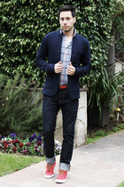 red Polo Ralph Lauren shoes - navy H&M jeans - navy Club Monaco blazer