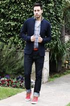 red Polo Ralph Lauren shoes - navy H&M jeans - navy Club Monaco blazer