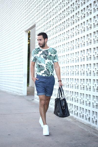 green Forever21 shirt - black H&M bag - blue Uniqlo shorts