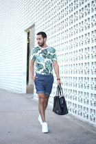 green Forever21 shirt - black H&M bag - blue Uniqlo shorts