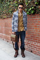 dark brown Kenneth Cole boots - navy Big Star Jeans jeans - camel JCrew shirt