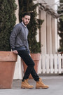 Camel-timberland-boots-navy-hudson-jeans-blue-levis-sweater