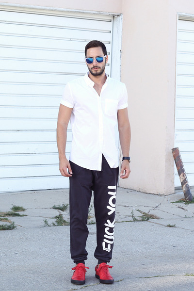 White-h-m-shirt-blue-forever21-sunglasses-red-buscemi-sneakers