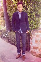 navy Levis jeans - dark brown Zara shoes - navy Club Monaco jacket