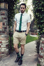 White-h-m-shirt-black-zara-shoes-beige-h-m-shorts-green-target-socks