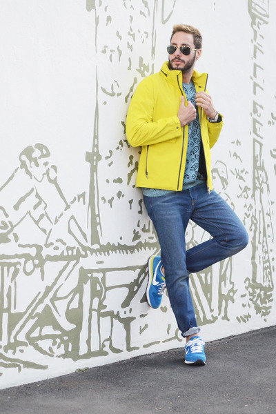 yellow Zegna jacket - sky blue Levis jeans - teal Topman shirt
