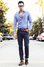 Dark-brown-brogue-oxfords-zara-shoes-navy-levis-jeans-blue-stripe-h-m-shirt