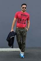 dark green camouflage Topman jeans - navy varsity Club Monaco blazer