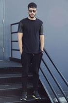 black Topman shirt - black Lacoste sunglasses - black jogger Zara pants