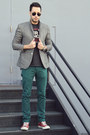 Gray-tweed-topman-blazer-teal-zara-jeans-dark-gray-local-celebrity-shirt