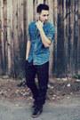 Sky-blue-denim-topman-shirt-black-leather-zara-pants