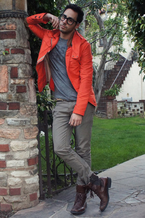 carrot orange Zara jacket - dark brown Kenneth Cole boots