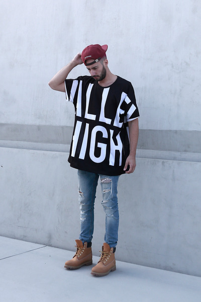 black Valley High shirt - tan Timberland boots - sky blue H&M jeans