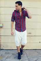 ruby red Zara shirt - white Zara pants - navy creative recreation sneakers