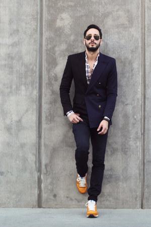 black maison martin margiela blazer - navy Hudson jeans - navy Hugh & Crye shirt