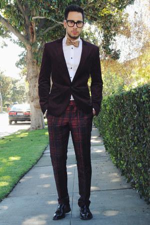 tan bow tie banana republic tie - black tassel loafers Zara shoes