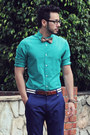 Aquamarine-h-m-shirt-dark-brown-boat-shoes-vans-shoes-navy-wesc-pants