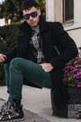 Black-topman-coat-teal-hot-topic-jeans-navy-plaid-express-shirt