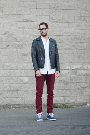 black leather Levis jacket - brick red Jacob Davis jeans - white H&M shirt