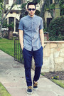 Navy-boat-shoes-vans-shoes-light-blue-pin-dot-ben-sherman-shirt