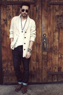 Off-white-oversized-forever21-cardigan-dark-brown-brogues-zara-shoes