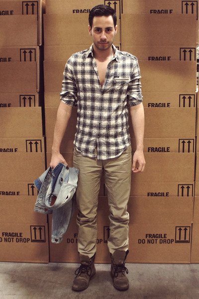 William Rast for Target shirt - gray Aldo boots - light blue denim Guess jacket