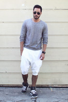 silver American Apparel sweater - white Zara shorts - black ray-ban sunglasses
