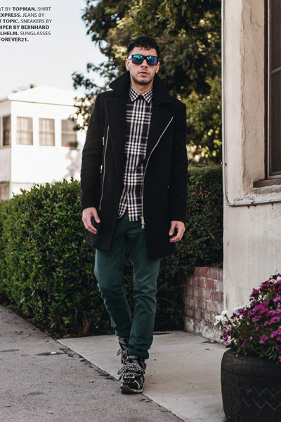 teal Hot Topic jeans - black Topman coat - navy plaid Express shirt