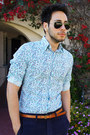 Navy-obey-shorts-navy-boat-shoes-h-m-shoes-floral-print-express-shirt